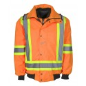 High-visibility 6 in 1 winter coat fluorescent orange with retroreflective stripes Class 2 Level 2