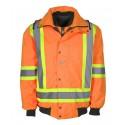 Manteau d'hiver haute visibilité 6 en 1 orange fluorescent à bandes rétroréfléchissantes CSA Z96-15 classe 2 niveau 2