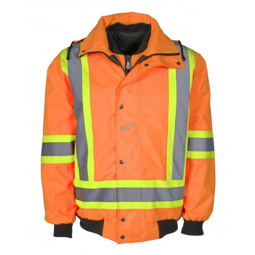 Manteau d'hiver haute visibilité 6-en-1 orange fluorescent à bandes rétroréfléchissantes, CSA Z96-15 classe 2 niveau 2.