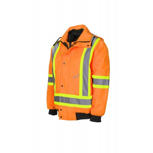 High-visibility 6-in-1 winter coat, fluorescent orange with retroreflective stripes, CSA Z96-15 Class 2 Level 2.