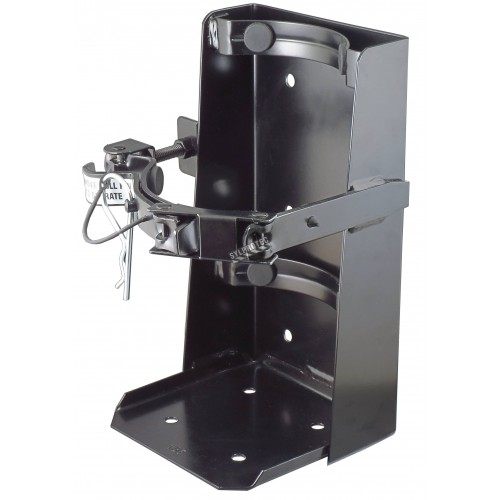 Box-type vehicle bracket for 20 lb portable fire extinguishers with 6 ¼ to 6 ¾ inches in diameter