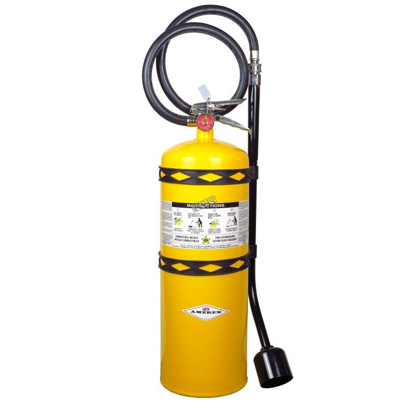 Amerex portable fire extinguisher with sodium chloride, 30 lbs, type D (sodium, potassium or magnesium fires), with wall hook