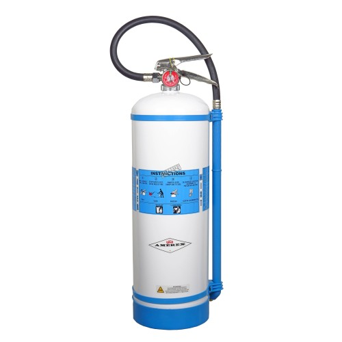 Portable fire extinguisher with distilled water 2.5 gallons, type AC, ULC 2AC, with wall hook.