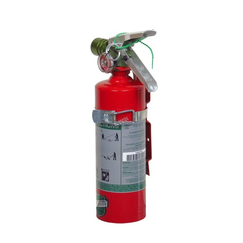 Portable fire extinguisher with Halotron I, 2.5 lbs, class BC, ULC 2B:C, with vehicle hook.