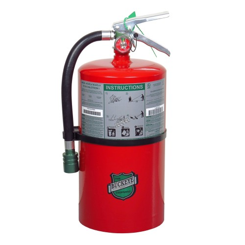 Portable fire extinguisher with Halotron I, 15.5 lbs, class ABC, ULC 2-A:10B:C, with wall hook.
