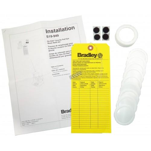 Trousse d'inspection pour douche oculaire portative alimentée par gravité de Bradley.