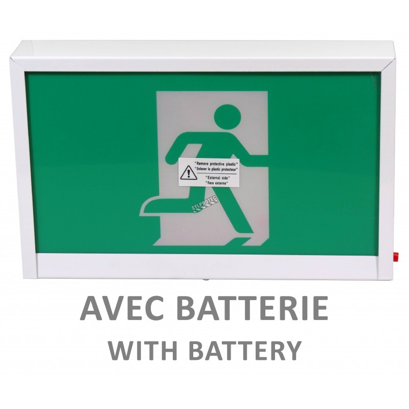 Green Running Man LED emergency exit sign  Steel, with battery