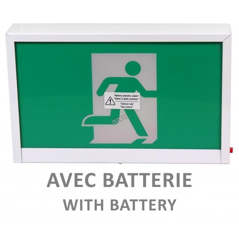 Enseigne avec pictogramme vert «personne qui court» pour sortie de secours, avec DEL, boîtier en métal, batterie incluse