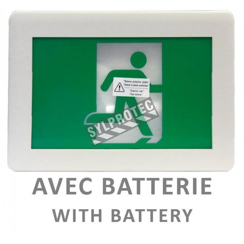 Enseigne avec pictogramme vert «personne qui court» pour sortie de secours, avec DEL, boîtier en plastique, batterie incluse