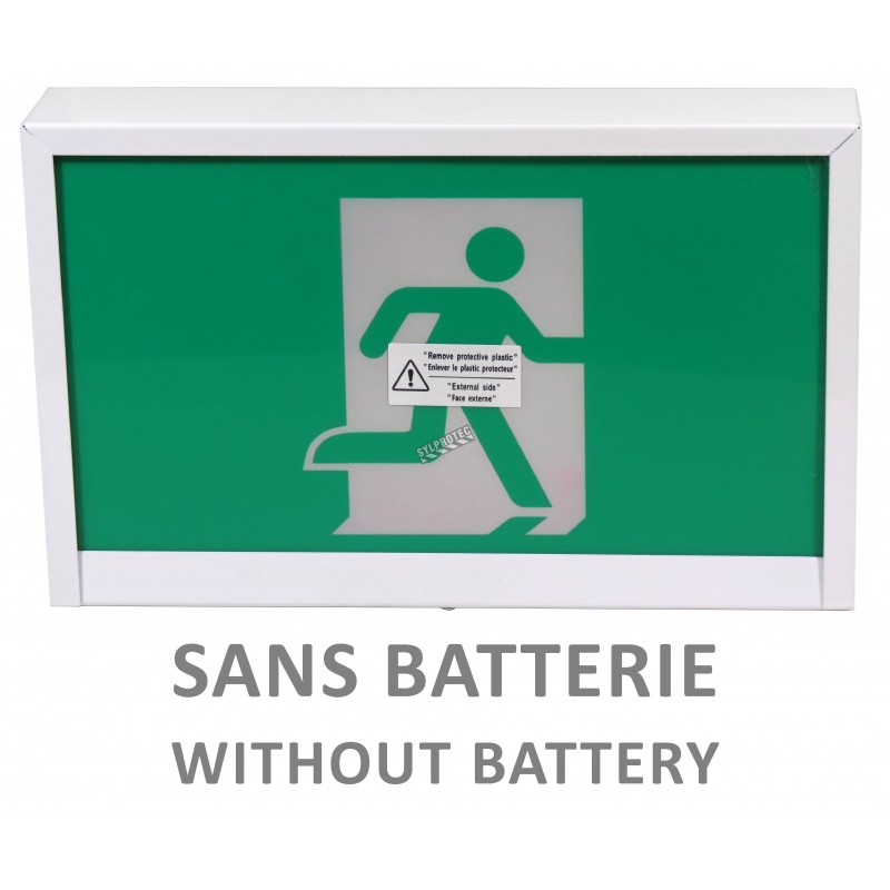 Enseigne avec pictogramme vert «personne qui court» pour sortie de secours, avec DEL, boîtier en métal, sans batterie