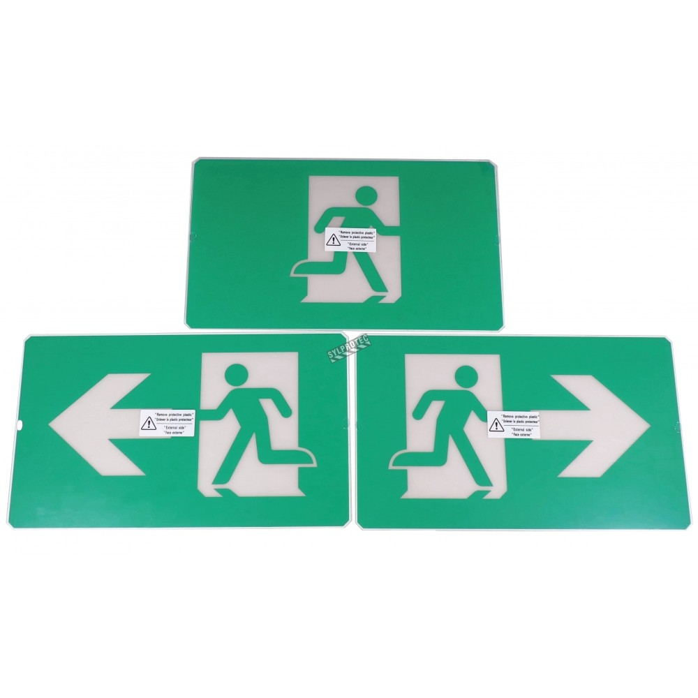 Green Running Man LED emergency exit sign, steel casing, with back-up  battery