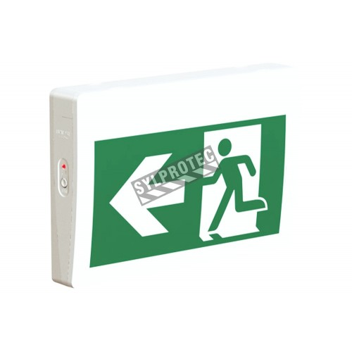 Green Running Man LED emergency exit sign, thermoplastic casing, with back-up battery