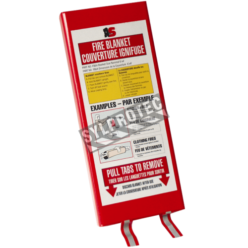 Fireproof fiberglass blanket in a plastic casing, 183 x 122 cm (72 x 48 in).
