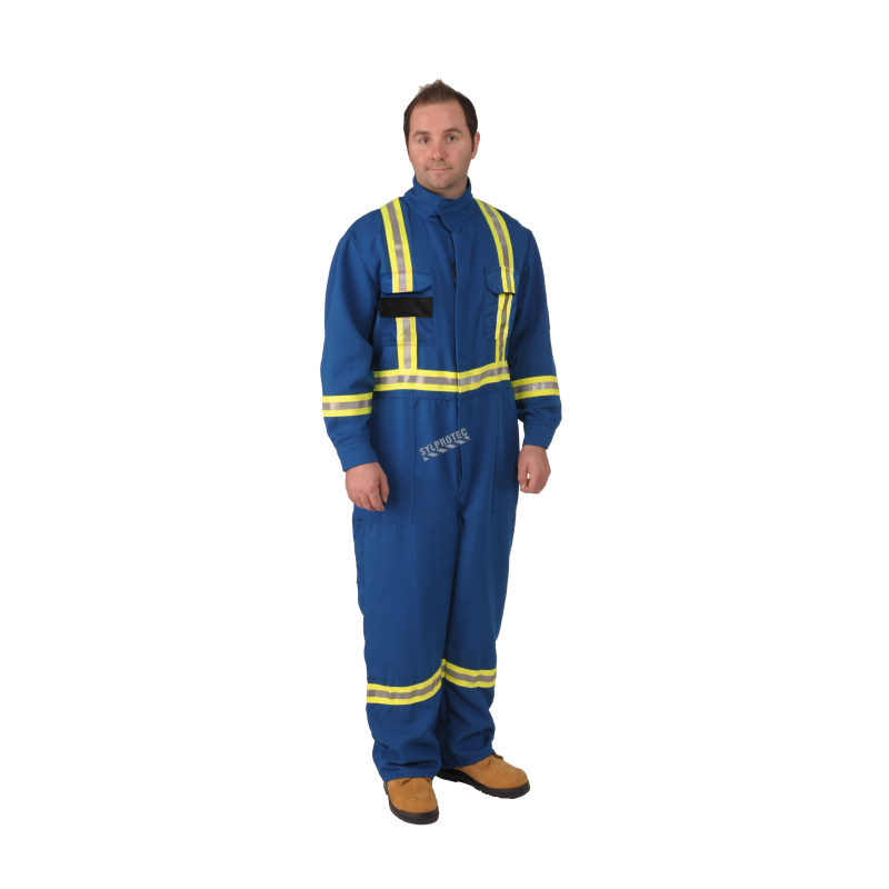 cfc72bd3daf0 Flame-resistant blue coverall made of Nomex IIIA with high-visibility  reflective stripes.