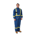 Flame-resistant blue coverall made of Nomex IIIA with high-visibility reflective stripes.