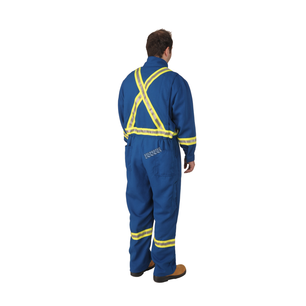 Safety Yellow Shirts >> Blue Nomex IIIA coverall with high-visibility reflective stripes.