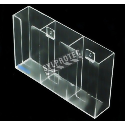 Clear acrylic glove box holder with 3 vertical bins, for wall mounting or table mounting.