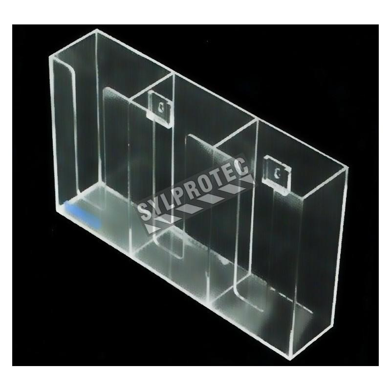 Distributeur en acrylique transparent à 3 compartiments pour boîtes de gants, pour installation murale ou sur une table.