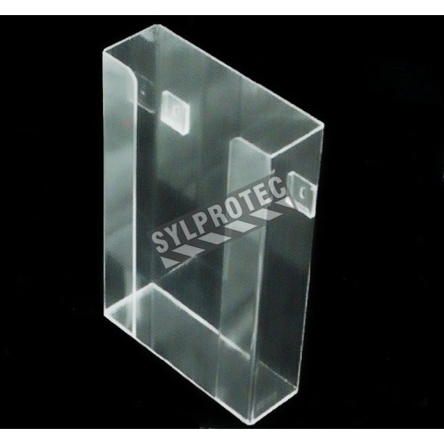 Clear acrylic glove box holder without bins for up to 3 glove boxes, for wall mounting or table mounting.