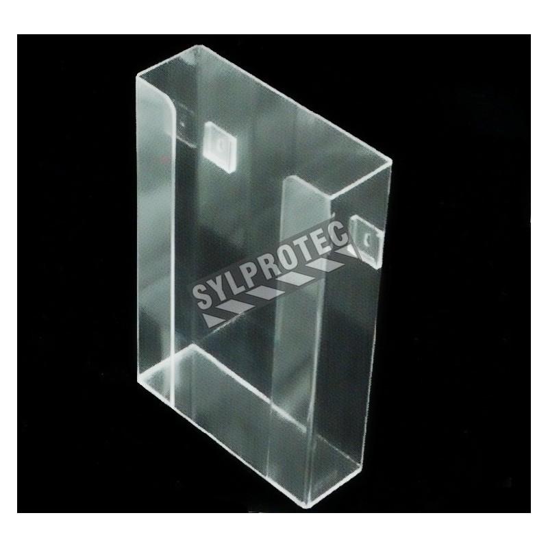 Distributeur en acrylique transparent sans compartiments pour boîtes de gants, pour installation murale ou sur une table.