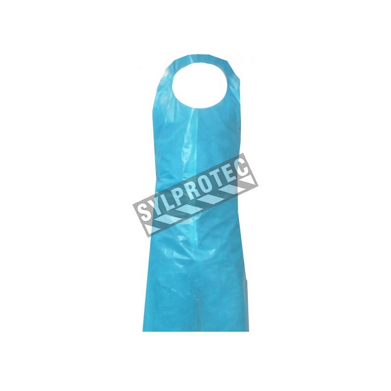 Tablier en polyéthylène bleu,1 mil 46 X 28 pq/100 un.