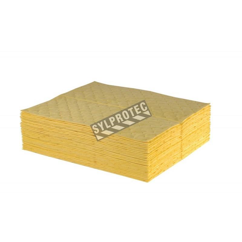 Tampons pour déversement de produits chimiques corrosifs ou dangereux, 15 po X 18 po, 100 tampons/paquet.