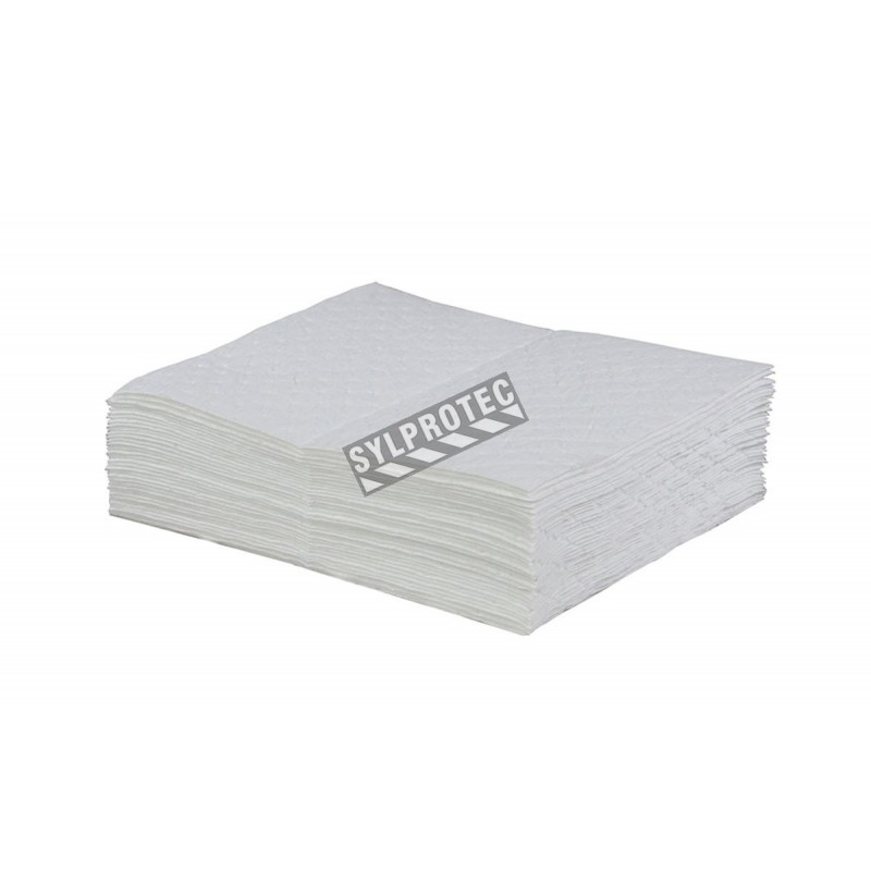 Hydrocarbon absorbent pads, 100 pads by box, absorb 74 oz. per pad. Dimensions: 16 in. X 20 in. X 3/8 in.