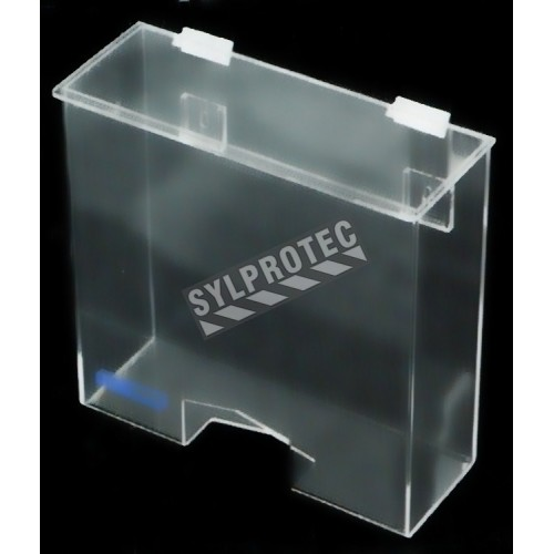 Clear acrylic hairnet dispenser with flat hinged lid and rectangular bottom opening, for wall mounting or table mounting.