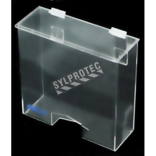 Distributeur en acrylique transparent avec couvercle plat et ouverture rectangulaire en bas pour filets à cheveux.