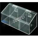 Distributeur en acrylique transparent à 3 compartiments avec couvercle incliné pour filets à cheveux.