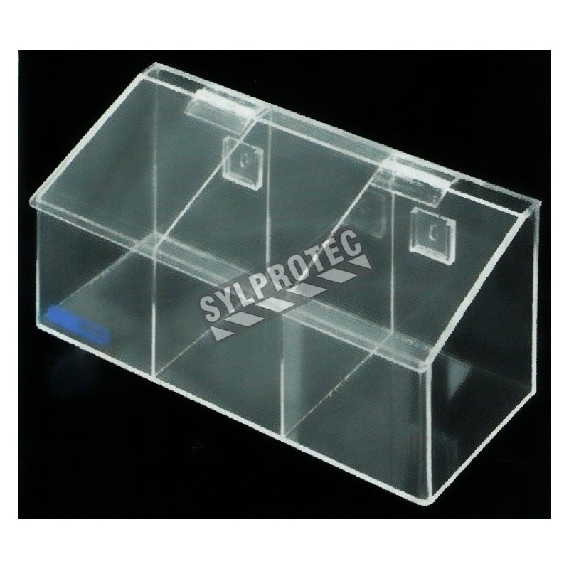 Clear acrylic hairnet dispenser with 3 bins and slanted hinged lid, for wall mounting or table mounting.