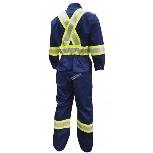Blue coveralls with reflective stripes.