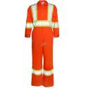 Orange coveralls with reflective band