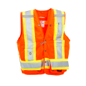 High-visibility orange surveyor vest with 14 pockets, class 2 level 2.