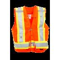 Veste d'arpenteur en polyester orange fluo avec 14 poches, classe 2 niveau 2.