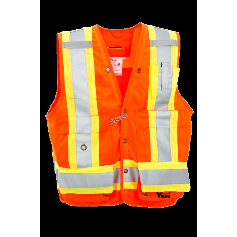 High-visibility orange surveyor vest with 14 pockets, CSA Z96-15 class 2 level 2.