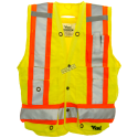 High-visibility yellow surveyor vest with 14 pockets, class 2 level 2.