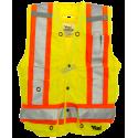 Veste d'arpenteur en polyester jaune fluo avec 14 poches, classe 2 niveau 2.