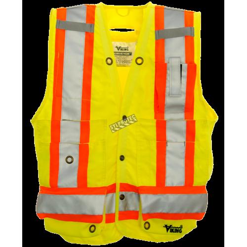 Veste d'arpenteur en polyester jaune fluo avec 14 poches, CSA Z96-15 classe 2 niveau 2.