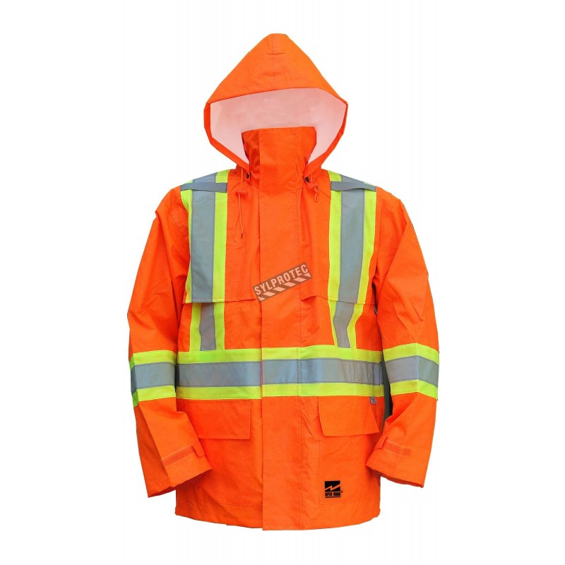 Manteau imperméable Open Road 150D orange haute visibilité avec bandes réfléchissantes , conforme à la CSA, classe 2, niveau 2