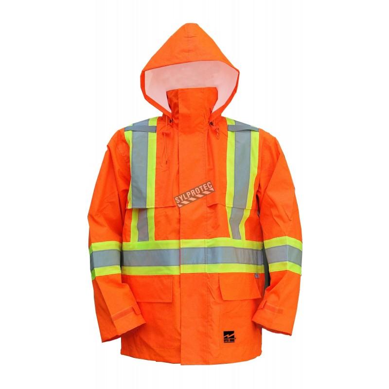 Viking Hi-Viz orange Open Road® 150D polyester raincoat with silver stripes, CSA Z96-09, Class 2, Level 2 compliant (S to 5XL)