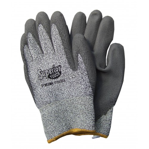 Superior Touch gray Dyneema cut-resistant gloves with PU coating, ASTM/ANSI puncture resistant level 3 & cut resistant level A2.