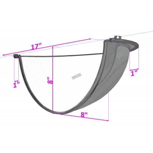 Acrylic half dome convex mirror, for 180-degree view in a T-intersection.