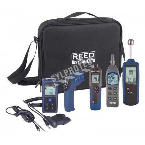 Combo home inspection kit with 5 digital instruments, 2 accessory probes and carrying case.