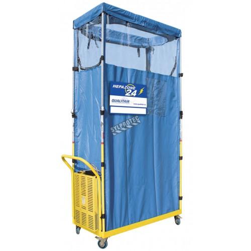 Enceinte de confinement HEPA ZONE 24 avec purificateur d'air à pression négative à batterie, pour décontamination.