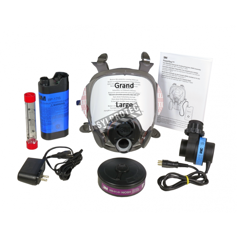 3M complete Powerflow face-mounted powered air purifying respirator assembly. Ideal for abatement and decontamination. Large.