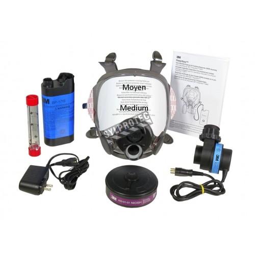 Ensemble 3M de protection à épuration d'air motorisé Powerflow. Idéal pour désamiantage et décontamination. Grandeur: Moyen.