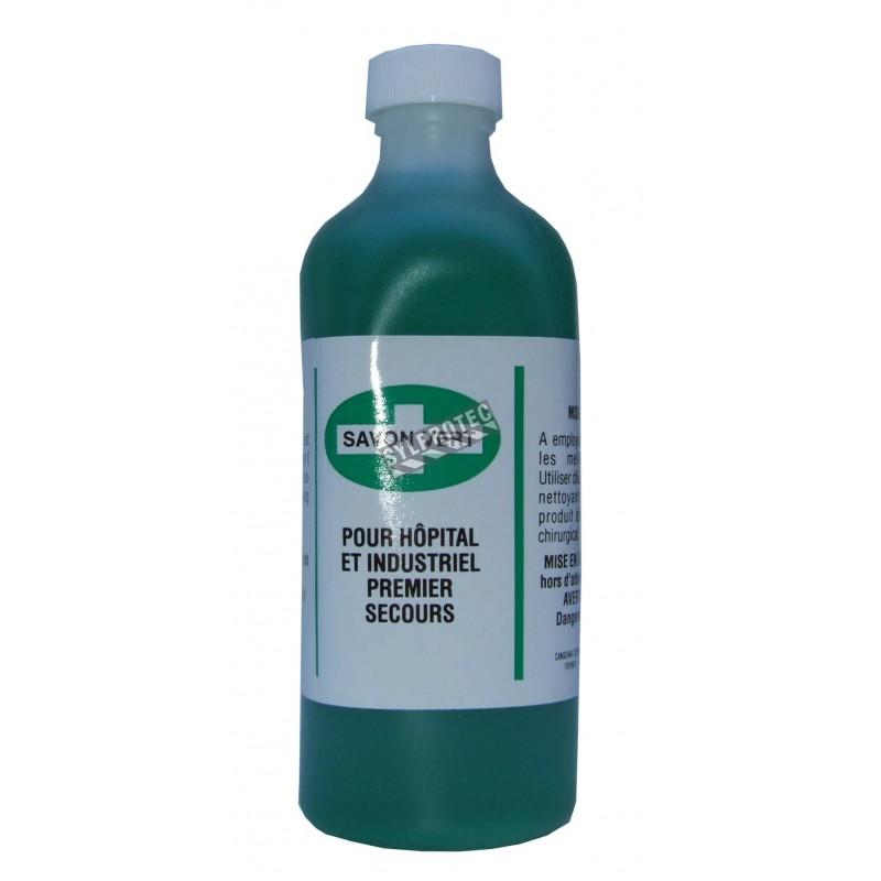 Green liquid disinfectant soap, 500 ml.