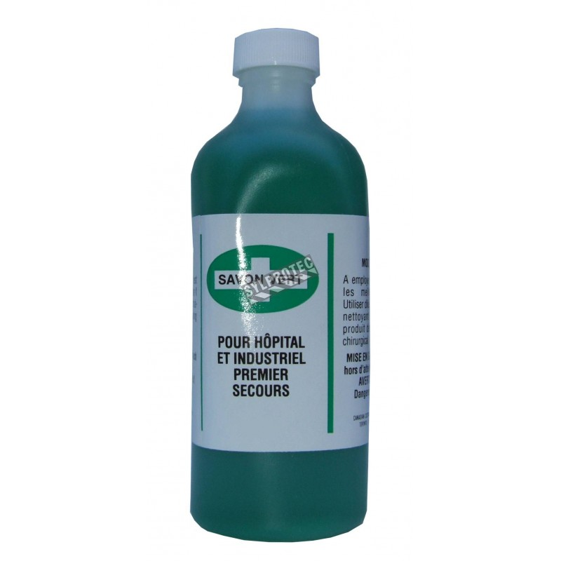 Savon liquide vert désinfectant, 500 ml.