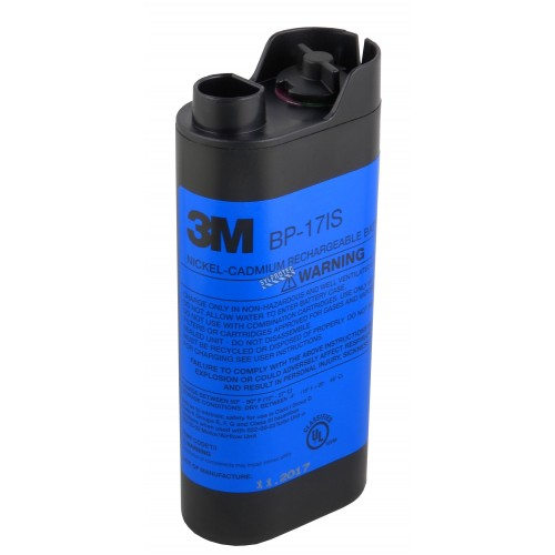 3M rechargeable intrinsically safe Nickel Cadmium (NiCd) battery pack which supplies 4.8 volts DC. Up to 8 hours of run time.